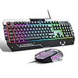 RGB Gaming Keyboard and Mouse Set (UK Layout) Rainbow LED RGB Backlit Wired Keyboard for Xbox one PC Mac PS4 Laptop