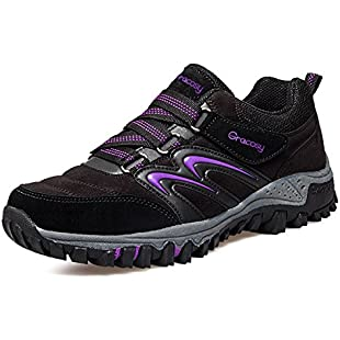 gracosy Womens Hiking Shoes Summer Outdoor Trekking Walking Shoes Low Rise Anti-Slip Climbing Shoes Lightweight Athletic Trail Running Sneaker Lace up Women Casual Trainer Sports Shoes Black 7 UK:Animalnews