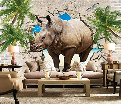 Wall Murals Wallpaper 3D Rhino Breaks The Wall for Bedroom Living Room Tv Background Wallpapers Decoration Art 400cmx280cm