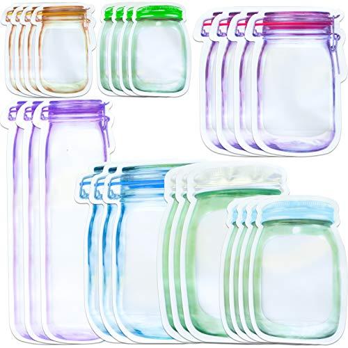 HAPPY FINDING Mason Jar Zipper Bags, 25 PCS Einmachglas Taschen Lebensmittel Aufbewahrungsbeutel Wiederverwendbare zum Backen von Keksen Snacks Süßigkeiten Mason Bag