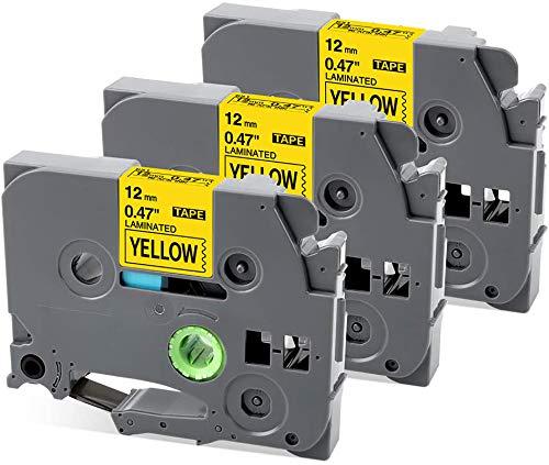 MarkField kompatible Schriftband als Ersatz für Brother P-touch TZe-631 gelb 12mm x 8m 0.47 für PT-1010 PT-1080 PT-h75 PT-h101c PT-H100LB/R, H105, E100/VP, D200/BW/VP, D210/VP, laminiert