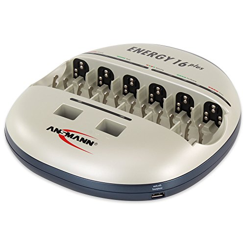 ANSMANN Energy 16 Plus Stazione di Ricarica - Manutenzione per Batterie NiMH/NiCD AAA/AA/C/D - Caricatore