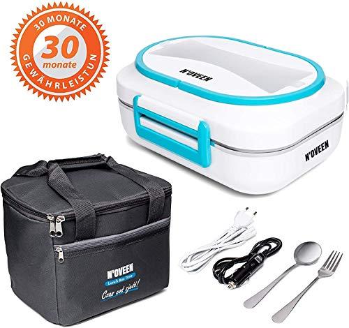 N'OVEEN Elektrische Lunchbox LB520 Speisenwärmer, Thermo lunchbox Heizplatte mit 1 Liter Fassungsvermögen – 230V + 12V (Auto) - Food Box Warmhalteplatte bis 60°C für Ausflüge, Camping und Urlaub(Blau)
