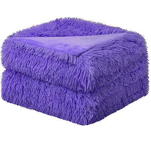 sourcing map Solid Faux Fur Full Size Blanket 70' x 78' - Decorative Fuzzy Long Shaggy Blankets Lightweight long fur Microfiber Fleece Blanket for Bed,Couch,Sofa - Keep Warmth for Years,Purple