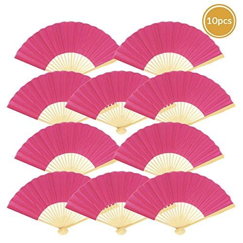 "9"" Fuchsia/Hot Pink Chinese Folding Silk Hand Fan for Weddings"
