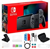 Newest Nintendo Switch 32GB Console with Gray Joy-Con, 6.2' Touchscreen 1280x720 LCD Display, 802.11AC WiFi, Bluetooth 4.1, HDMI, Bundle with TSBEAU 9-in-1 Carrying Case Accessories