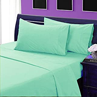 Comfort Beddings 800-Thread Count 3pc Fitted Sheet (1 Fitted Sheet 15 + 2 Pillow Cases) King Size 100% Egyptian Cotton Aqua Blue Solid
