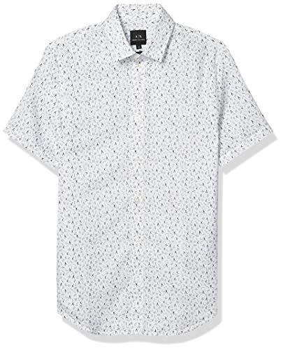 Armani Exchange AX Herren Slim Fit Print Linen Short Sleeve Woven Hemd, Weißes Magic Logo, Mittel