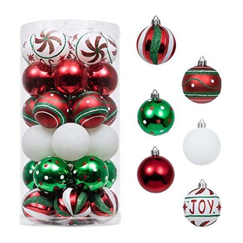 Juego de Bolas Navideñas de 2,36 pulgadas, 30 piezas Bolas inastillables Adornos Árbol de Navidad Bolas navideñas Navidad Decoraciones colgantes festivas Colgantes de adornos decorativos,rojo blanco