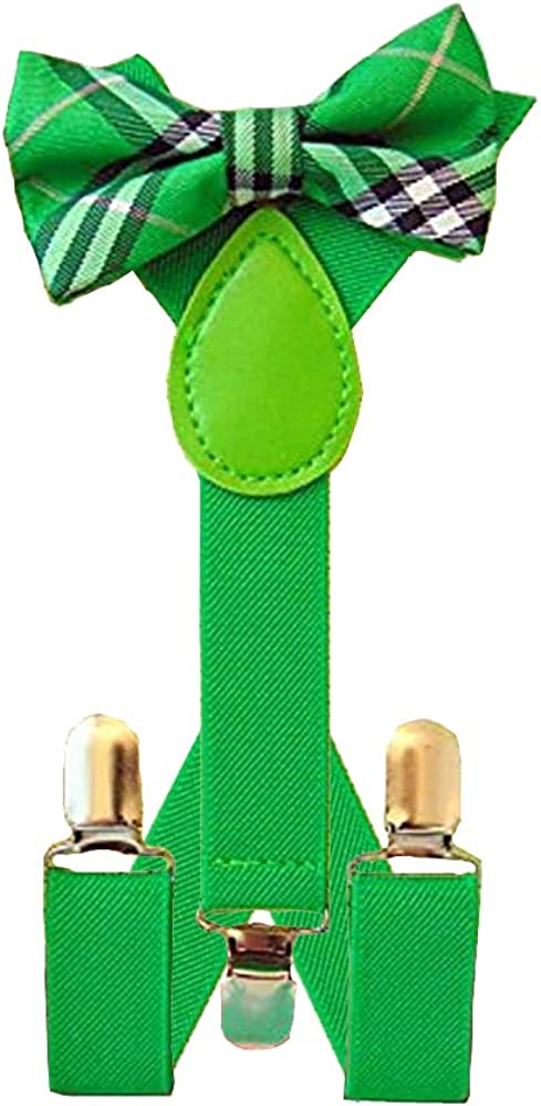 Bow Tie and Suspenders for Boys or Girls Green Plaid Saint Patricks Day Style