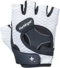 Harbinger 13929 Women's Flexfit Weightlifting Gloves with Flexible Cushioned Leather Palm (Pair), White, Medium