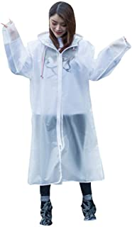 Color : White, Size : XL ZPWSNH Raincoat Poncho with Cover and Sleeves for Adults Reusable Portable Transparent Raincoat Raincoat