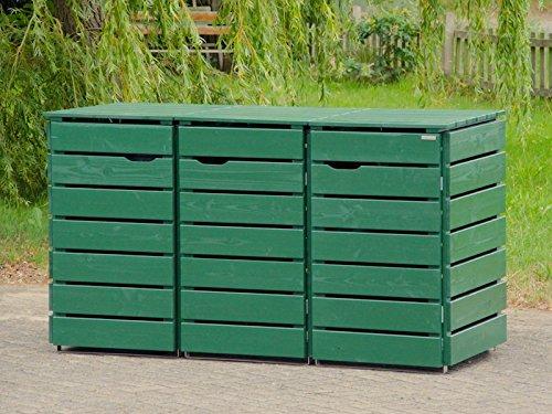 3er Mülltonnenbox / Mülltonnenverkleidung 120 L Holz, Deckend Geölt Tannengrün - 2