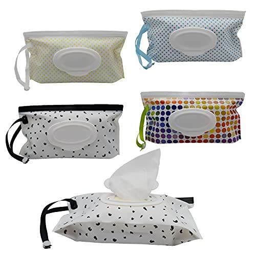 4 Stück Reisebehälter für Feuchttücher Wet Wipe Tasche Wiederverwendbar Feuchttücher Spender Reinigungstücher Schutzhülle Babytücherspender Umweltfreundlich Feuchttücher-Beutel Tragbar