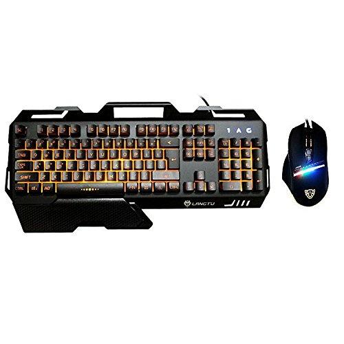 GJJ Internet-Café-Kombination Spiel-Maus und Tastatur-Set Internet-Café gewidmet USB-Computer-Maus-Tastatur,schwarz,A