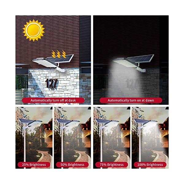 Solar Street Light Outdoor Solar Light with Remote Control Dusk to Dawn LED Street Light Suitable for Driveway, Yard…