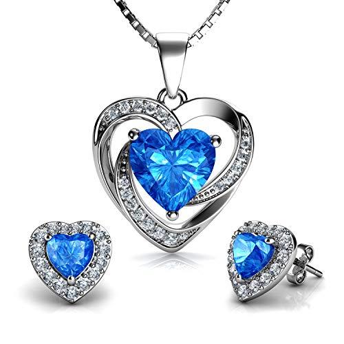 DEPHINI - Juego de collar y pendientes de corazón azul - Plata de ley 925 - Piedra natal - Pendientes de cristal y colgante - Juego de joyería fina para mujer - circonita cúbica