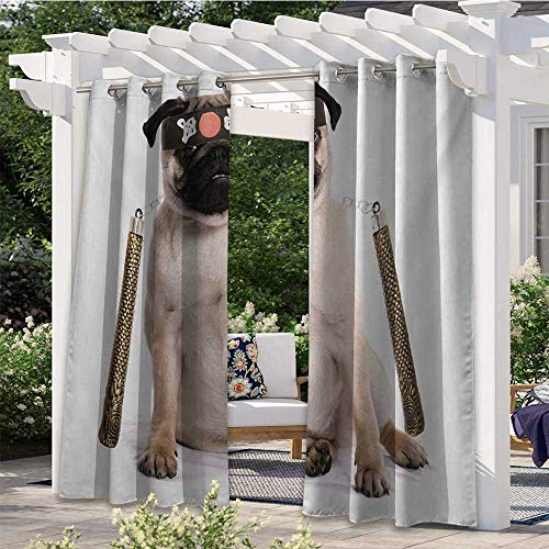 Adorise Indoor Outdoor Curtains Ninja Puppy with Nunchuk Karate Dog Eastern Warrior Inspired Costume Pug Image Darkening Curtains for Porch, Pergola, Cabana, Gazebo Cream Black Gold W84 x L84 Inch