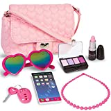 PixieCrush Pretend Play Purse & Makeup for Girls - Fun Little Girl Cosmetics Toys Set with Pretend Makeup, Eyeshadow, Cell Phone, Kids Lipstick, Sunglasses & Keys