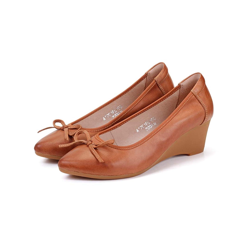 ポインテッドトゥ ウェッジヒール パンプス レディース 靴 インポートシューズ 大きいサイズ 痛くない 本革風 黒 ウェッジソール ラウンド グレー ラウンド ウェッジ ウエッジヒール 歩きやすい ヒール 黒22.0 [ムリョ]