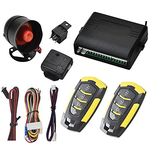 Iriisy Allarme Antifurto a Distanza per Auto 12V Sistema di sicurezza per auto Sistema di Chiusura Keyless con 2 Telecomandi Universali, Sensore di Scossa