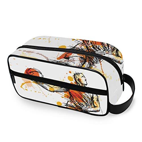 LZXO Kosmetiktasche zum Aufhängen, Aquarell, Sport, Basketball, Reise, Kulturbeutel, Kosmetiktasche, Kosmetiktasche mit Reißverschluss, professionell, tragbar, für Herren und Damen und Kinder.