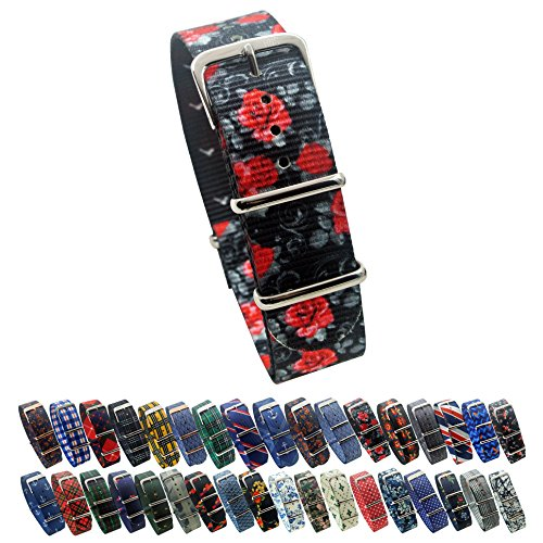 HNS Watch Straps -Choice of Pattern & Width (18mm, 20mm, 22mm) - Ballistic Nylon Straps (20mm, Rose)