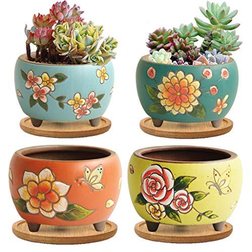 Summer Impressions Blumentopf für Sukkulenten, Kakteen, Bonsai, Ton, Blumentopf, Pflanzgefäß, Blumendesign, mit Ablaufloch, Bambus-Tabletts (tief, rund, 4 Stück)