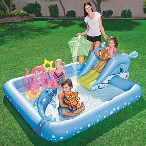 Hete-supply Inflatable Water Slide For Kids, Garden Great Fun Bouncy Castle Playground, Backyard Splash Water Slides, Play Center Water Toys Inflatable Swimming Pool With Air Pump