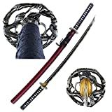MAKOTO Handmade Sharp Katana Samurai Sword 40' - Serpent Cobra Snake Tsuba (Red)