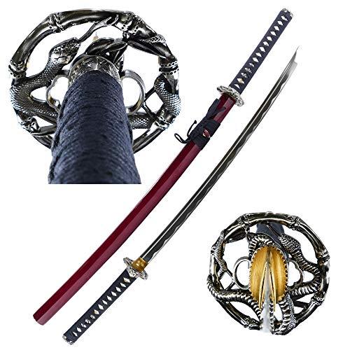 "MAKOTO Handmade Sharp Katana Samurai Sword 40"" - Serpent Cobra Snake Tsuba (Red)"