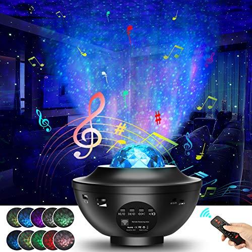 LED Sternenhimmel Projektor Nachtlicht, Airabc Bluetooth Musik Stimmungslicht mit Fernbedienung, 21 Beleuchtungsmodi/3 Helligkeitsstufen/Timer Funktion, für Zimmer Geburtstagsfeier Hochzeit