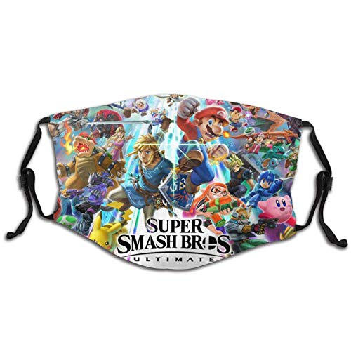Super Smash Bros Ultimate Friends Cartoon Game Face Mask with Filters Reusable Washable Balaclava Mar_io Zelda Link Yoshi Kirby Pika_chu Luigi Unisex Teens Children Mouth Cover with Adjustable Earloop