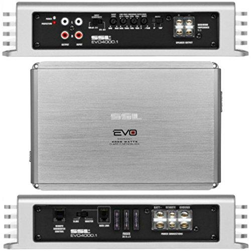SOUNDSTORM SSL EVO4000.1 EVO 4000.1 amplificateur voiture monophonique 1 canal 2000 watts rms et 4000 watt max stable 1 ohm spécifique pour subwoofer classe d et contrôle remote du sub