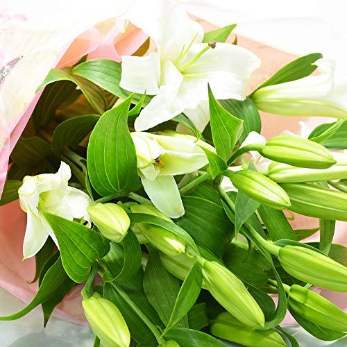 ユリの花束 5本 20輪以上 ホワイト