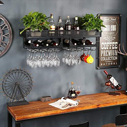 Estante de vino de hierro de estilo industrial retro LOFT de 3 niveles con soporte de vidrio Montado en la pared Estante de vajilla Rejilla Estante de flores Decoración Estante de almacenamiento