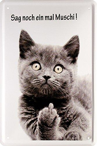 Sag noch einmal Muschi Katze Blechschild 20 x 30 cm Retro Blech 1010