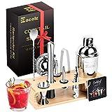 Eocolz Cocktail Shaker Set Edelstahl Barkeeper Set Bar Zubehör mit Ständer, Doppeljigger, Sieb, Bar Löffel, Eiszange, Ausgießer, Bar Stößel, Öffner, Cocktail-Shaker, Geschenk für Zuhause oder die Bar