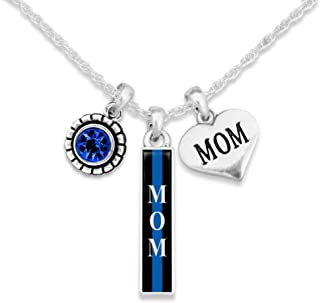 Lola Bella Gifts Thin Blue Line Mom Law Enforcement Police Support Charm Necklace with Gift Box
