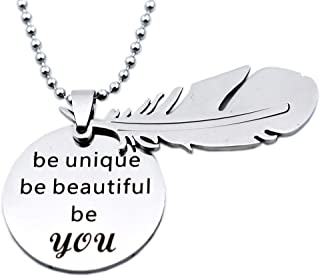 N.egret Jewelry Necklace Special With Feathers Pendant Inspirational Quote Gift Teen Daughter Mom Friends Gift Girl