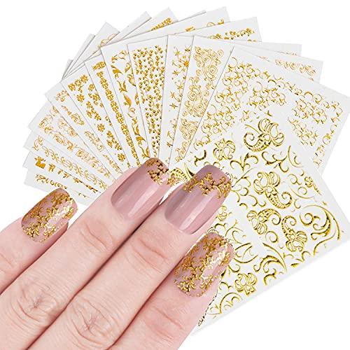 TSHAOUN 20 Blatt 3D Gold Glitter Nagel Sticker Nagel Aufkleber Nail Art Designs Selbstklebendes Dekorationsset für Mädchen Frauen DIY Anfänger Nagelstudio - Verschiedene florale Spitzenmuster