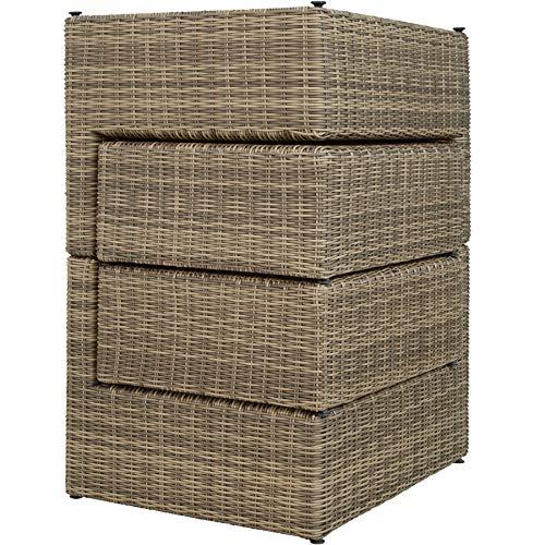 TecTake 800694 Aluminium Polyrattan Multifunktions Luxus Loungegruppe Gartensofa mit Tisch, für Garten oder Terrasse, vielseitig kombinierbar, inkl. Polster - Diverse Farben (Natur | Nr. 403168) - 6