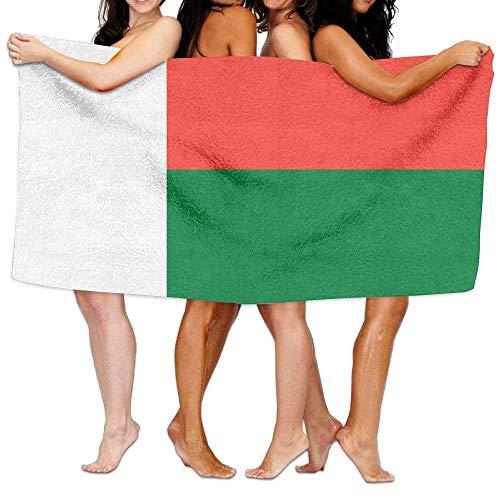 FSTGF Toalla de Playa de la Bandera de Madagascar, 80 cm x 130 cm, Suave, Ligera, Absorbente, para baño, Piscina, Yoga, Pilates, Picnic, Toallas