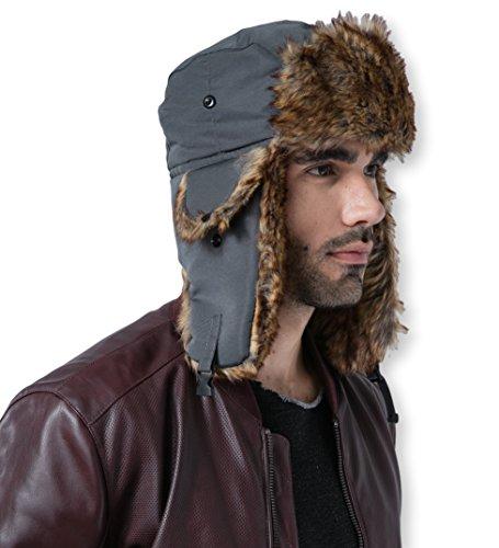Trapper Hat - Winter Trooper Aviator Earflap Eskimo Hat - Fits Men & Women (Slate Gray)