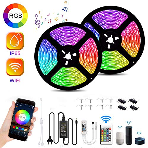LED Strip 10m Wifi IP65 Wasserdicht Audor RGB LED Streifen Kit 16 Millionen Farben LED Bänder LED Lichterkette Musik Sync LED Leiste, Led Stripes APP Kontrolle Kompatibel mit Alexa,Google Home, IFTTT