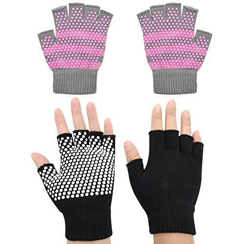 Cosmos 2 Pairs Non-Slip Yoga Pilates Gloves for Women, Barre, Ballet, Bikram Training & Workouts Gloves (Black & Gray (2 Pairs))