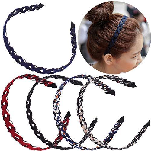 REYOK 5 Stück Böhmisches Stirnband Elastisches Metal Spring Wave Haarband Stoff-Art-Haarreif Adorable,Welle Metall Stirnband Metall Haarband Spring Wave Haarband für Frauen