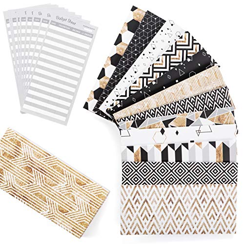 Budget Envelopes - Cash Envelope System - Laminated Cash Envelope System for Money Savings with Budget Sheets 12 Pack of Stylish and Reusable Envelopes with New Design Hook and Loop Closure