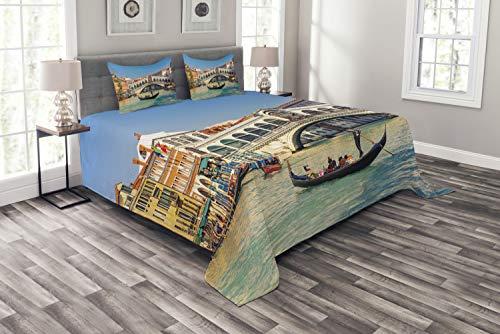 ABAKUHAUS Venedig Tagesdecke Set, Sonniger Tag in der Stadt-Reise, Set mit Kissenbezügen Sommerdecke, für Doppelbetten 220 x 220 cm, Mehrfarbig