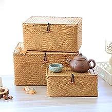 YSJJBTS Tkany koszyk ręcznie wykonany pudełko do przechowywania z wodorostów pleciony kosz do przechowywania drobiazgów ko...